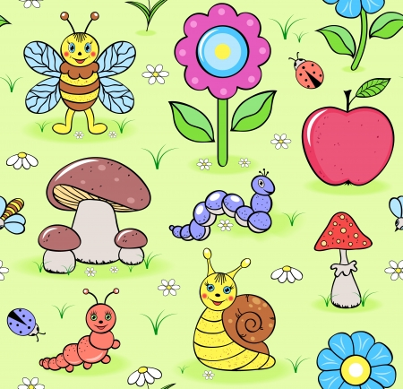 Vector illustration of seamless pattern with cute insects on summer meadow