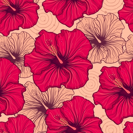 illustration of seamless pattern with hand drawn hibiscus flowers