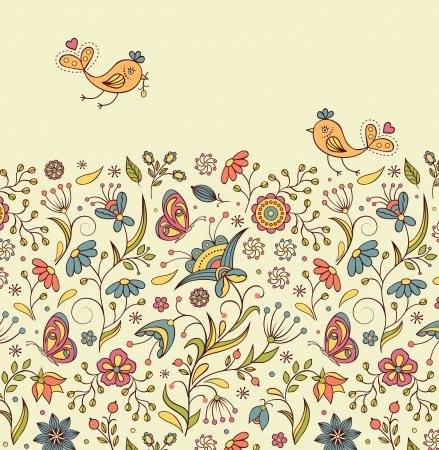 Vector illustration of  pattern with abstract flowers and  birds.Floral background