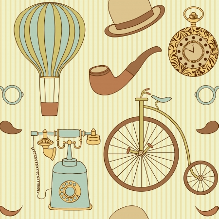 illustration of seamless pattern with different retro objects