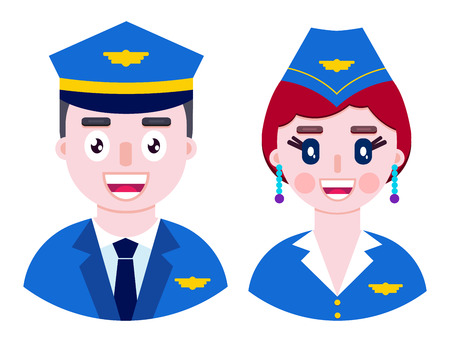 Cheerful pilot and happy stewardess on white background. Vector illustration