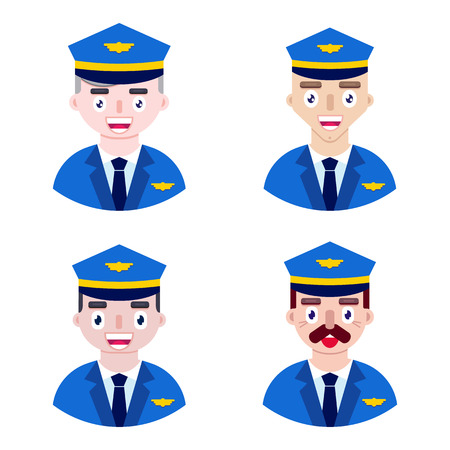 Group of men of pilots on white background. Airline crew.Vector illustration.