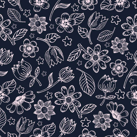 Illustration pour Flowers and leaves vector seamless pattern. Seamless hand draw vector pattern. Background with decorative flowers and leaves seamless. Spring and summer seamless pattern - image libre de droit