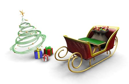 3D render of Santas sleigh with a Christmas tree and presents