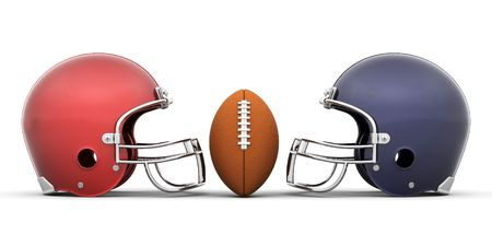 3D render of a football and helmets