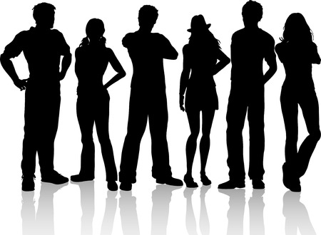 Silhouettes of a group of casual people