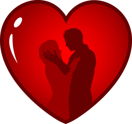 Silhouette of a loving couple in heart