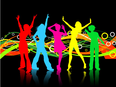 Colourful background with females dancing