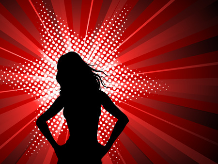 Silhouette of a sexy female on a starburst background