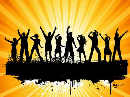 Illustration pour Silhouettes of people dancing on grunge background - image libre de droit