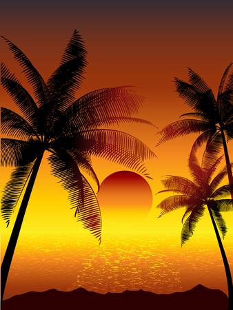Illustration pour Tropical sunset with palm trees - image libre de droit
