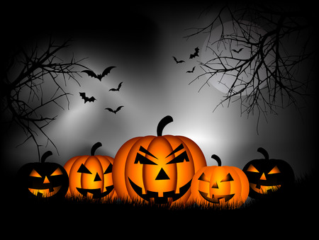 Spooky Halloween background with pumpkins and bats