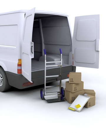 Foto de 3D render of delivery boxes and clipboard next to a van - Imagen libre de derechos