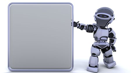 3D render of a robot and blank sign