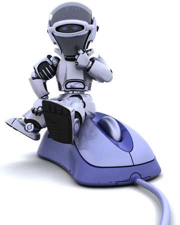 3D render of robot with a computer mouse