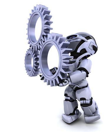 3d Render of a robot with gear mechanism