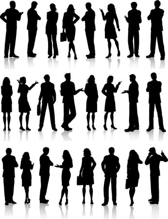 Illustration pour Large collection of silhouettes of business people in various poses - image libre de droit