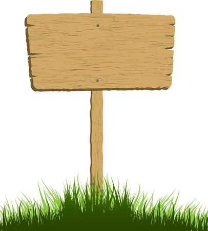 Wooden sign in grass with a white background