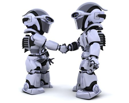 3d render of two robots shaking hands