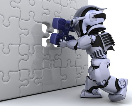 3D render of a robot with the final piece of the jigsaw puzzle