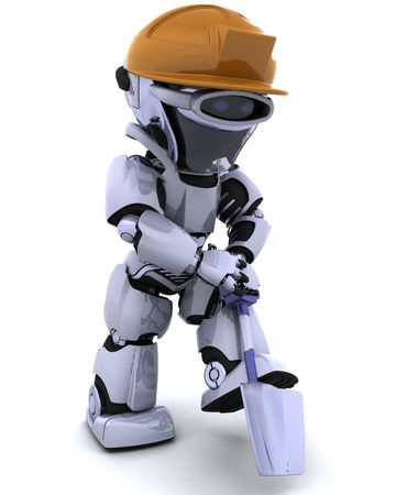 3D render of a construction robot with spade