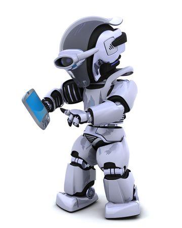 3D render of a robot character witha a palm pilot
