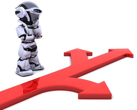 3D render of a robot with arrow symbol
