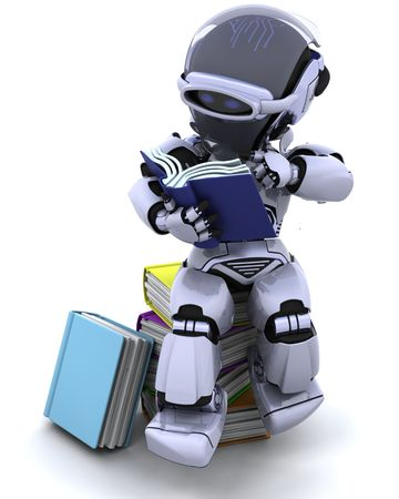 3D Render of robot with books