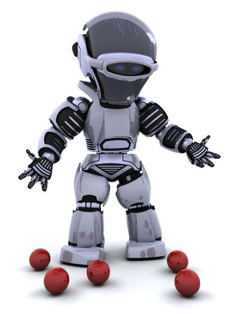 3D render of a robot juggler and dropped balls