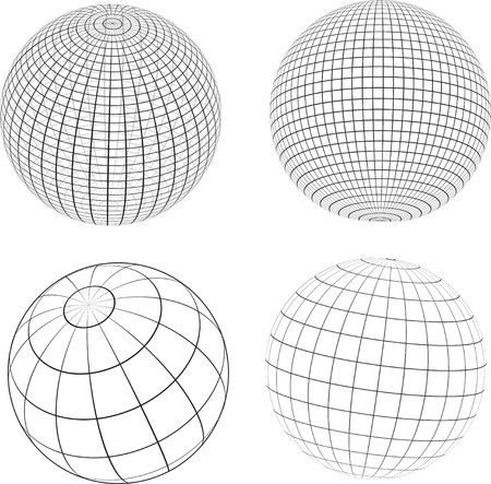 Various designs of wireframe globes