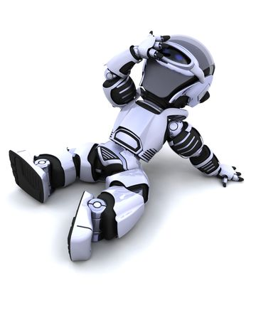3D render of a robot resting in the sun