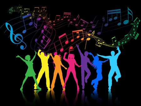 A colourful party background with people dancing