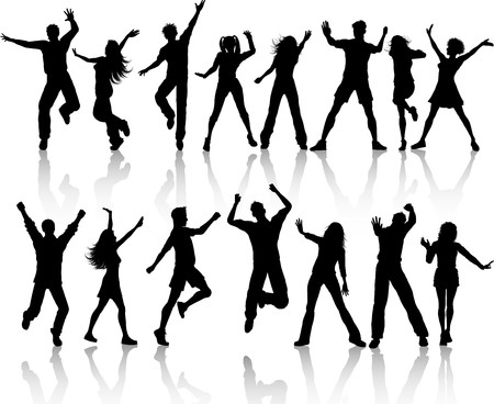 A collection of silhouettes of people dancing