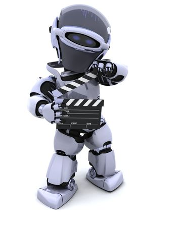 3D render of a robot with clapper board