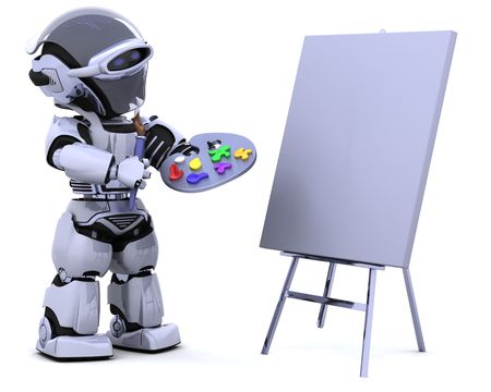 3D render of robot with a pallette and paint brush