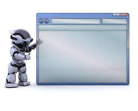 3D render of robot with empty computer window