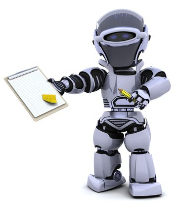 3D render of a robot  with clipboard