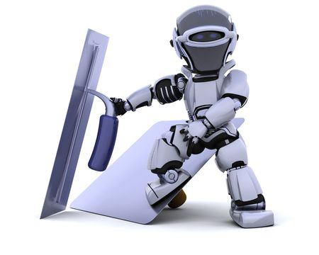 3D render of a robot  with plastering tools