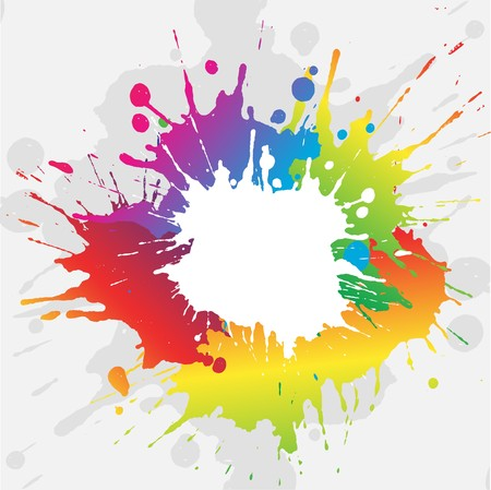 Abstract grunge background with brightly coloured paint splatters