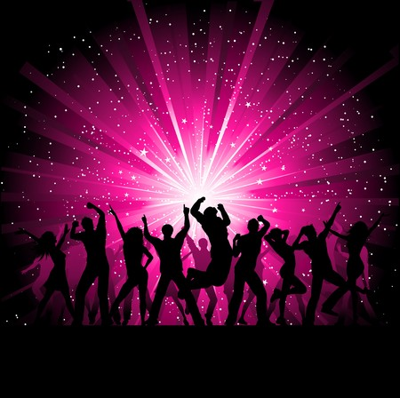 Silhoeuttes of people dancing on a starburst background