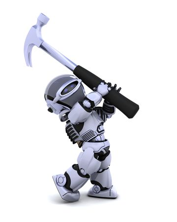 3D render of robot with claw hammer