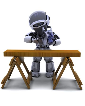 3D render of robot with power saw cutting wood