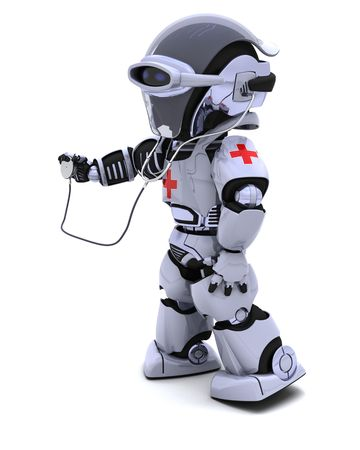 3D render of robot doctor with stethoscope
