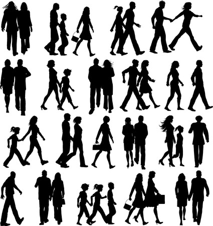 Large collection of silhouettes of people walking
