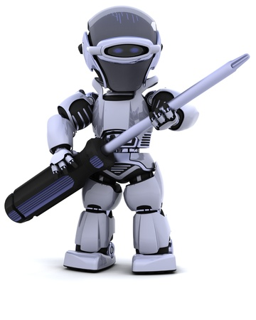 3D render of robot with