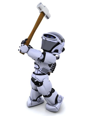 3D render of robot with a sledge hammer