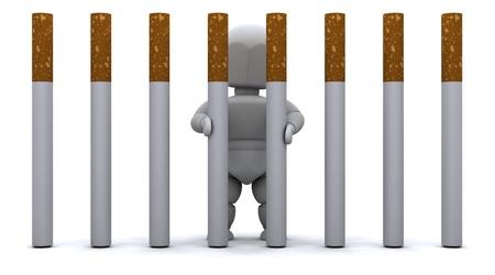 3D render of a Man in Cigarette Prison