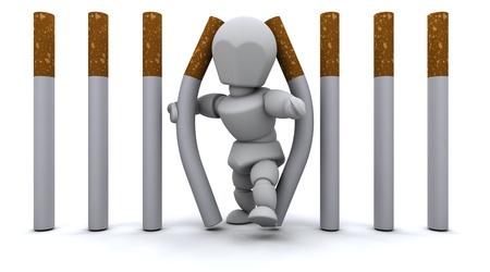 3D render of a Man escaping Cigarette Prison