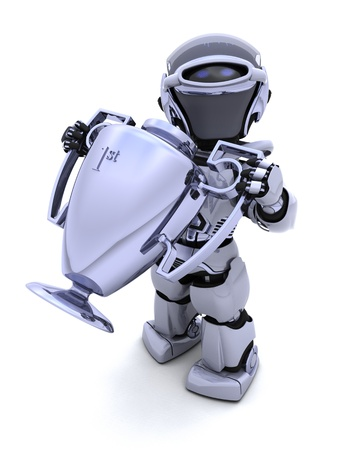 3D render of a Robot with a trophy