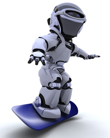 3D render of a Robot with snowboard